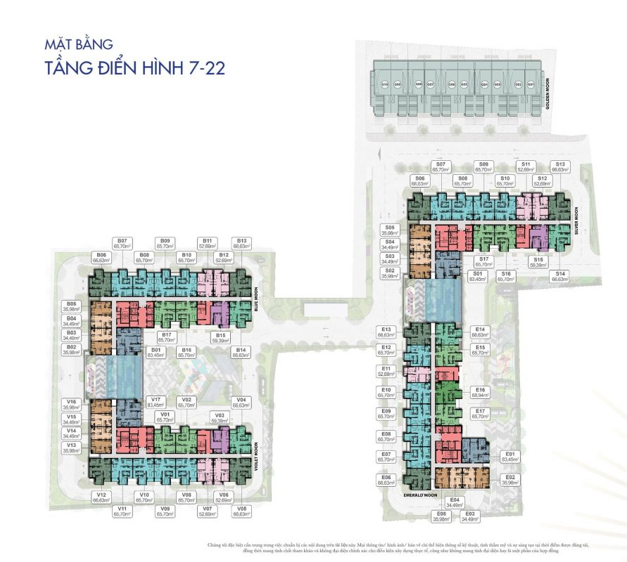 Mặt bằng Opal parkview Tầng 7-22